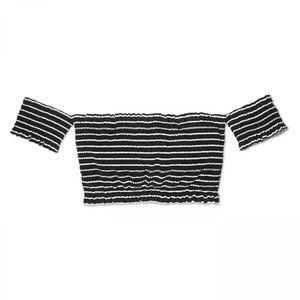 NWT Xhilaration Smocked Bikini Top XS Black